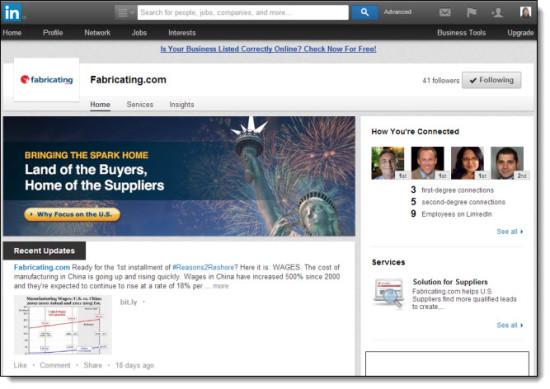 Social Media Portfolio: Fabricating.com | Panoptic Online Marketing, LLC